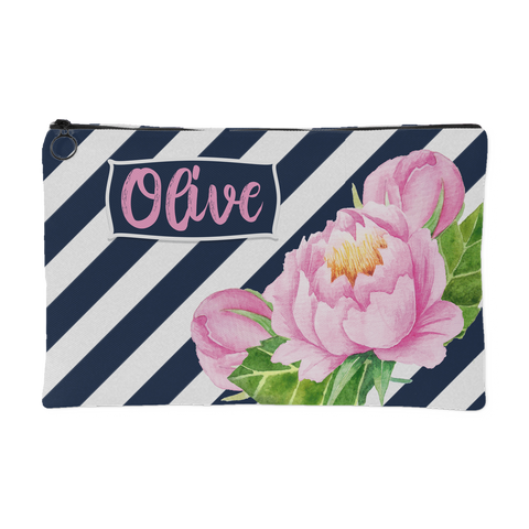 personalized peony makeup bag