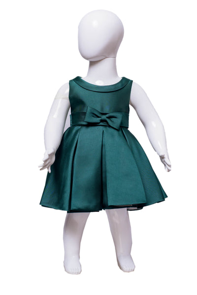 The Debutante Dress (with collar)- Emerald Green