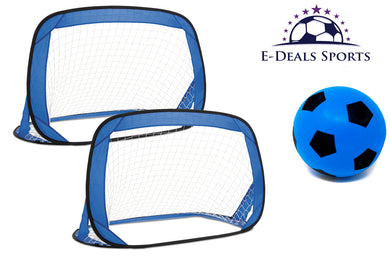 E-Deals Kids Pop-Up Football Goals - Set of 2 + One 17.5cm Blue E-Deals Foam Football