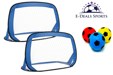 E-Deals Kids Pop-Up Football Goals - Set of 2 + Pack of Three 17.5cm E-Deals Foam Football