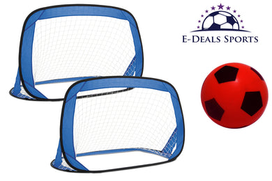 E-Deals Kids Pop-Up Football Goals - Set of 2 + One 17.5cm Red E-Deals Foam Football
