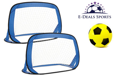 E-Deals Kids Pop-Up Football Goals - Set of 2 + One 20cm Yellow E-Deals Foam Football