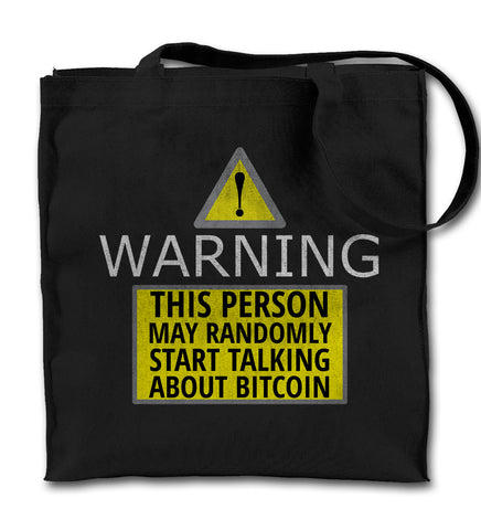 Warning Funny Bitcoin Tote Bag