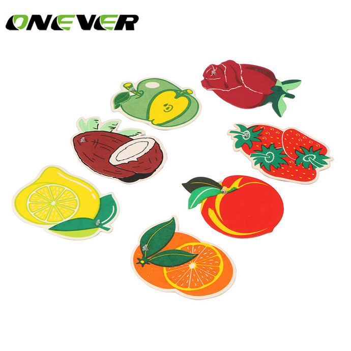 Onever 7pcs Scent Hanging Paper Auto Perfume for Home Boat Lasting Fragrance Strawberry Lemon Scent Car Air Freshener Perfume