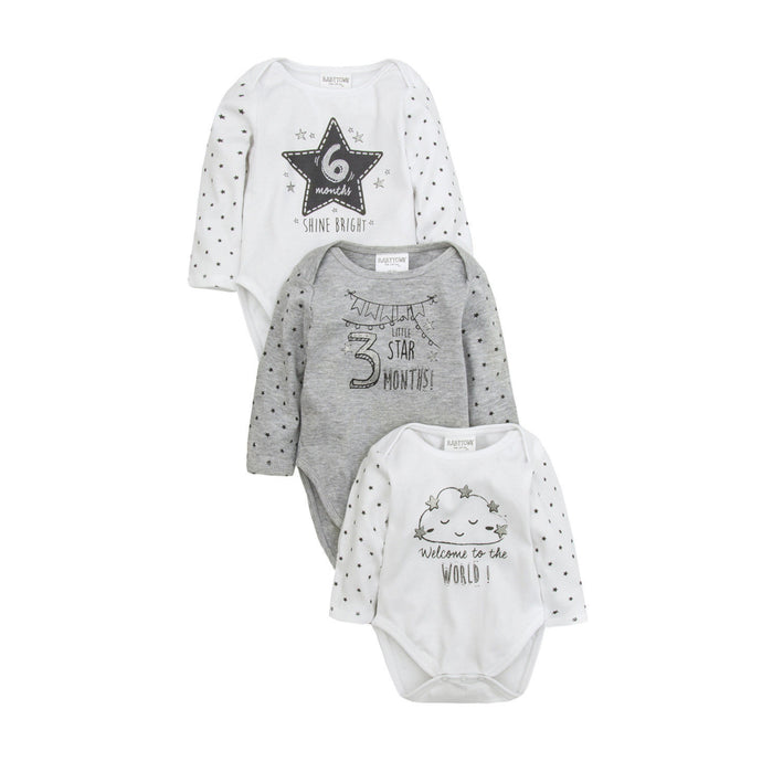 3 Pack of Milestones Bodysuits