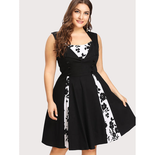 Contrast Panel Fold Over Detail Circle Dress