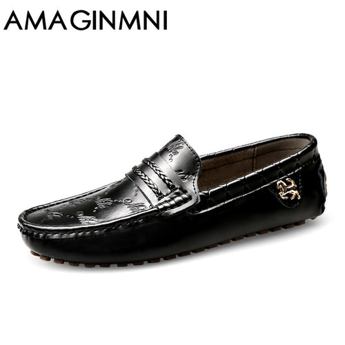 Breathable Genuine Leather Flat Loafers Men