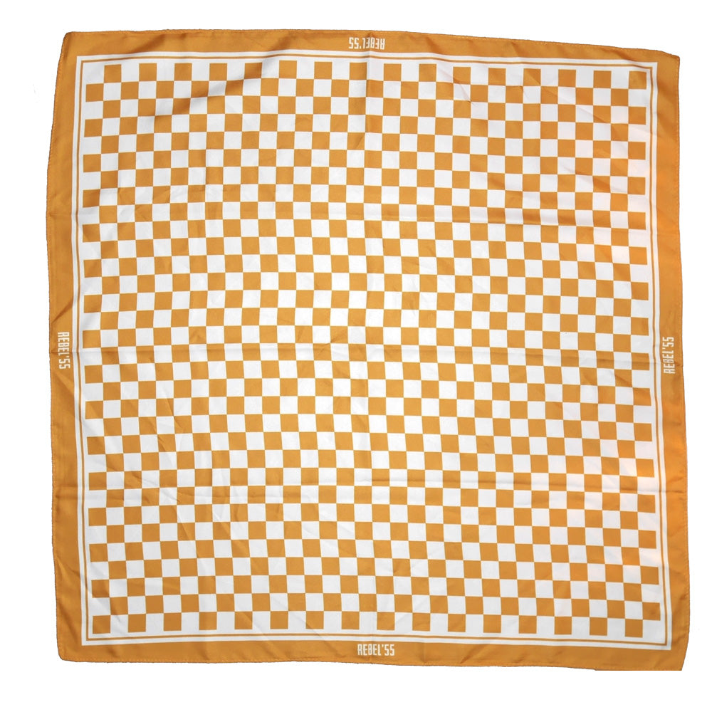 "Classic Checked Silk Motorcycle Scarf - ""Goldman"" - BRAAP.®"