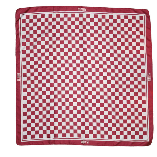"Classic Checked Silk Motorcycle Scarf - ""Vintage Red"" - BRAAP.®"