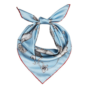 Totem Snake Mini Silk Scarf Light Blue - Emma Fällman Stockholm