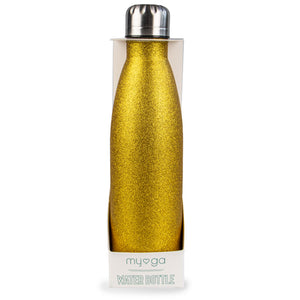 Myga Metal 500ml Drinks Bottle Glitter Gold