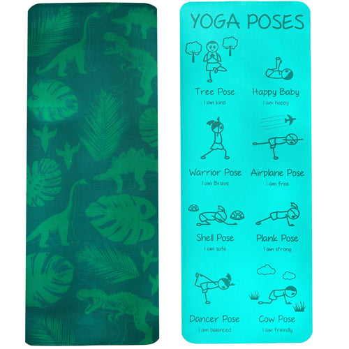 Kid's Printed Yoga Mat - Jurassic Jungle