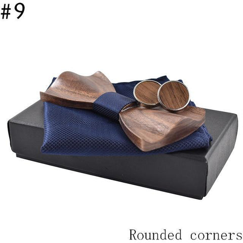 Wooden  Bow Tie and Cufflinks with handkerchiefs set