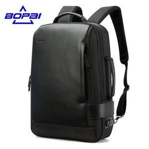 Bopai Leather Backpack for Men (15.6 Inch) - Gadget Backpack