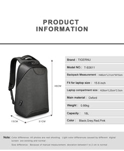 Tigernu Anti-theft daily backpack with USB charging port (15.6 inch) - 4 colors - Gadget Backpack