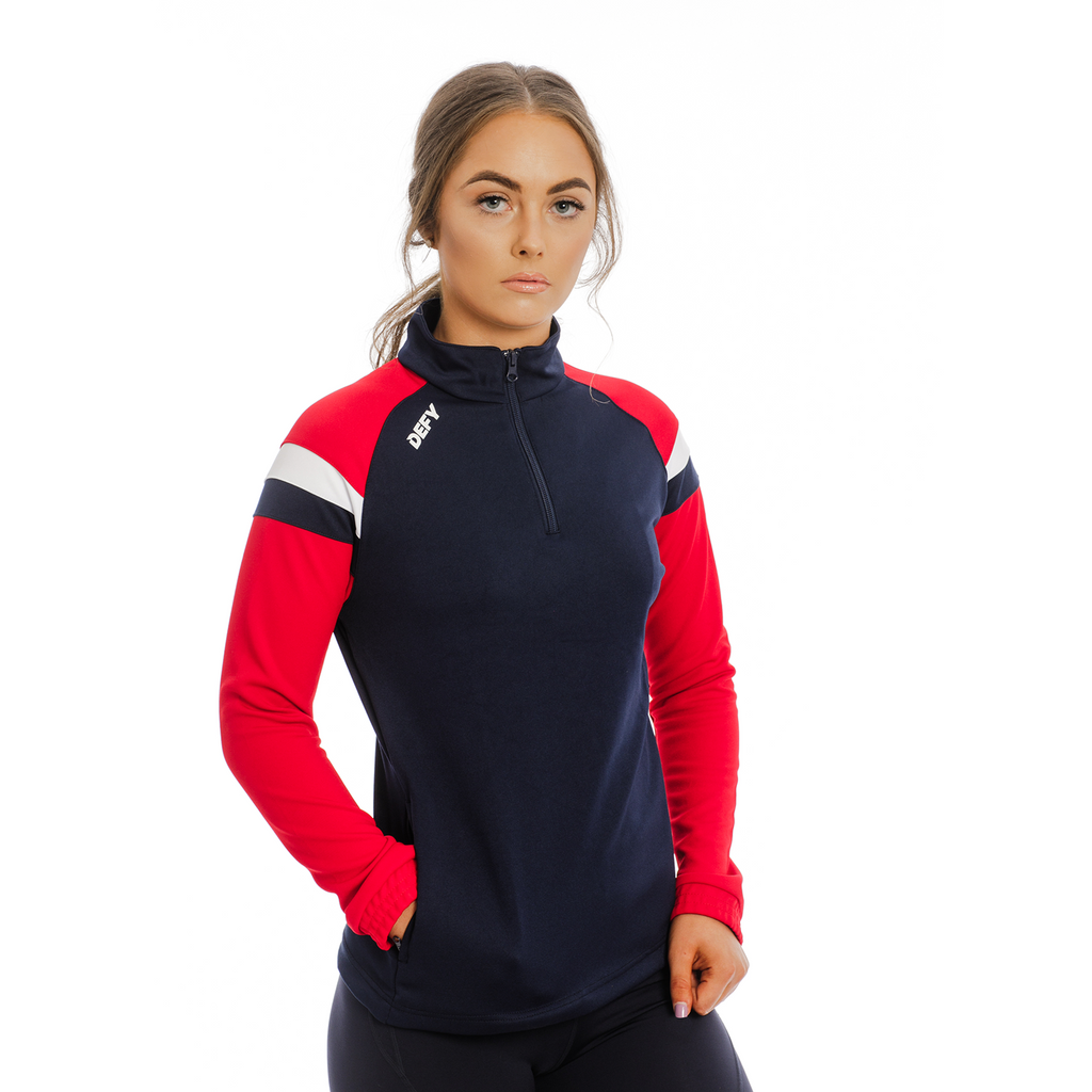 Ladies Two Stripe Quarter Zip