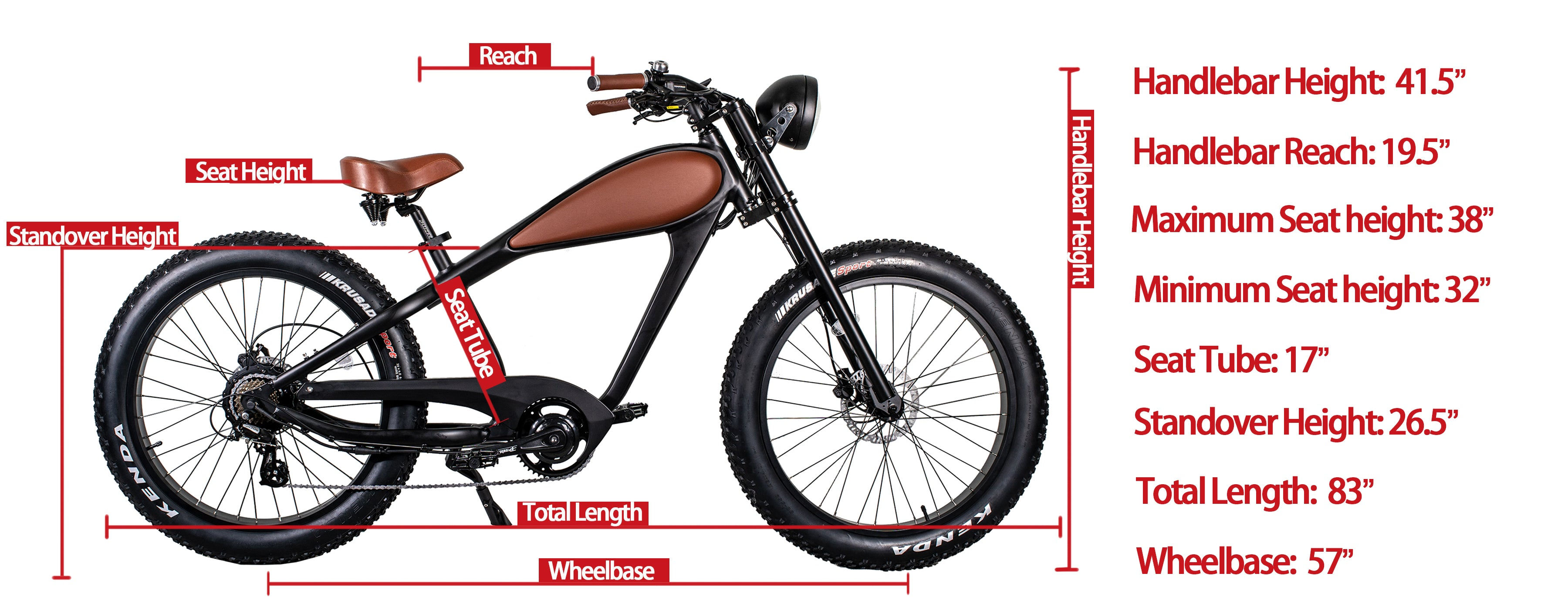 cheetah cafe racer electric bike size