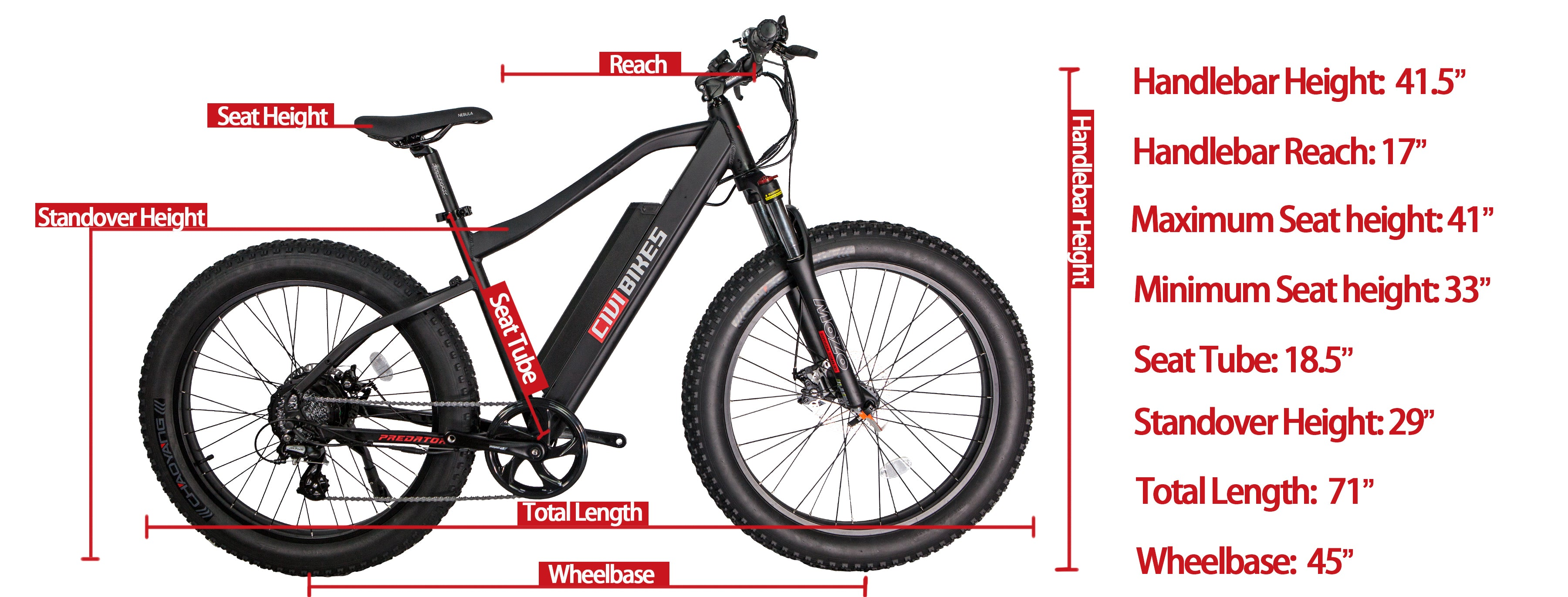 predator bike size chart diagram