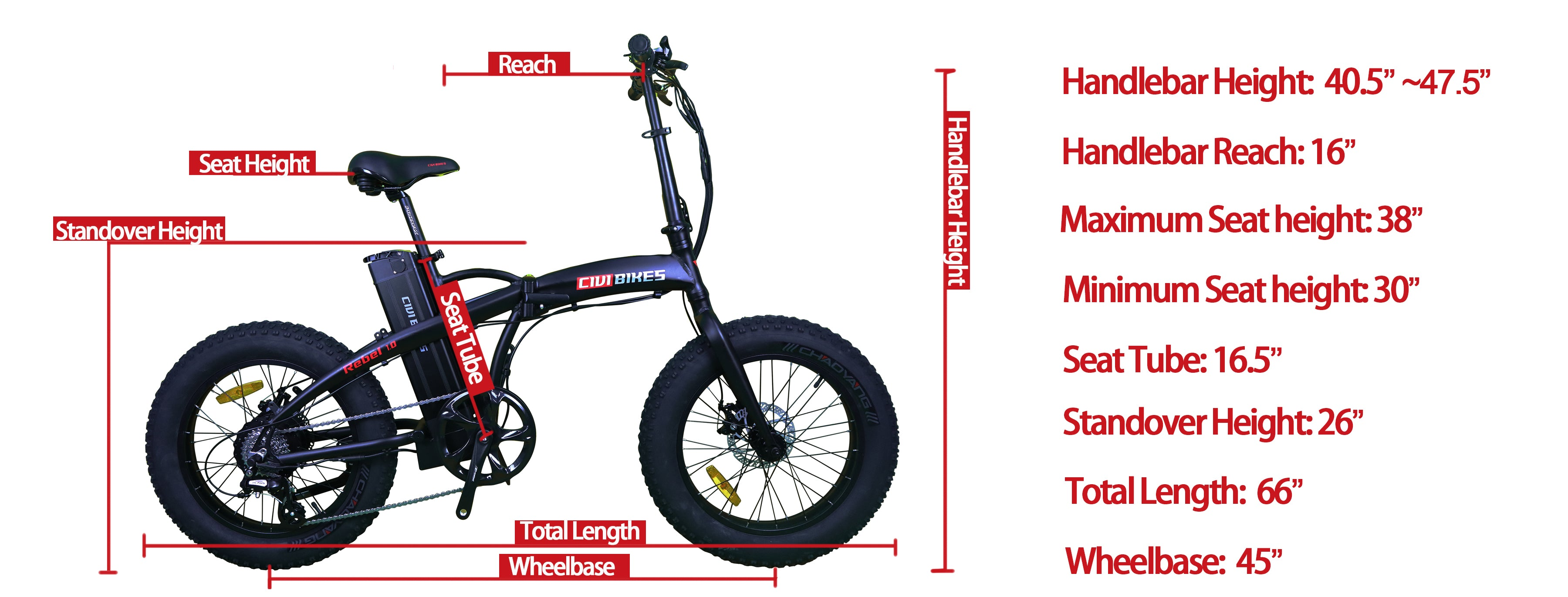 rebel folding bike size diagram