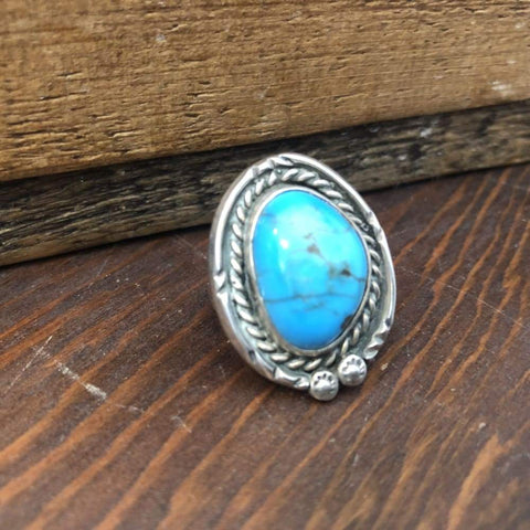 Blue Turquoise w/ Rope Detail Ring | Vintage - VINTAGE - native american jewelry Navajo jewelry turquoise ring turquoise rope detail Vintage