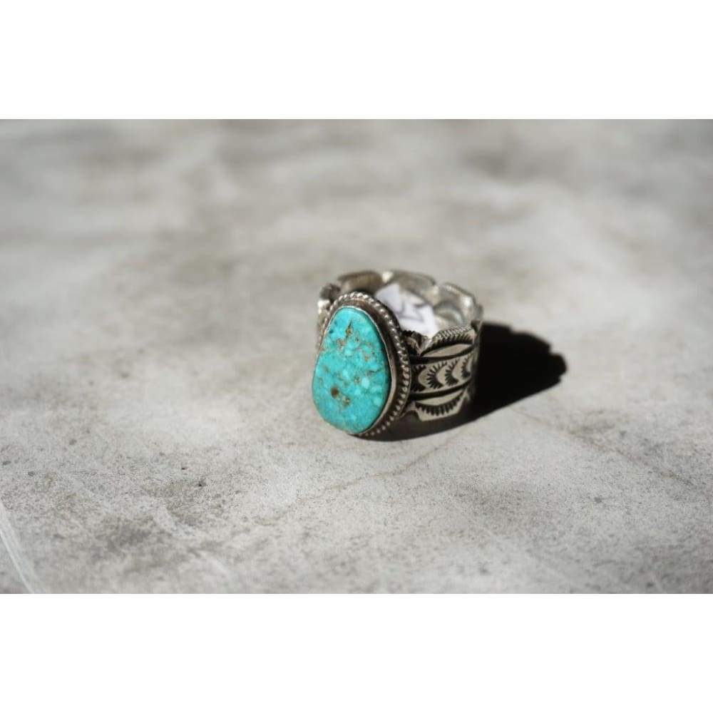 Detailed Band Turquoise Ring | Vintage - Vintage - Men's Jewelry - Native American Jewelry - Turquoise - Turquoise Ring - Vintage
