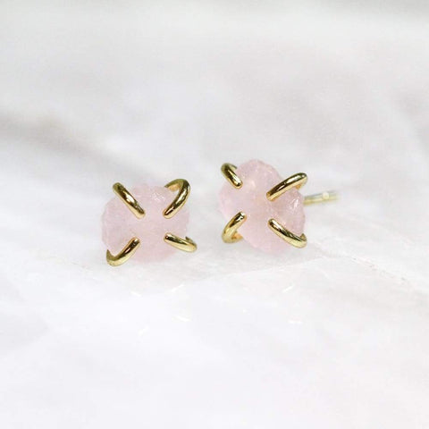 Earrings | Rose Quartz Gemstone Prong | JaxKelly - JEWELRY - Earrings JaxKelly jewelry rose quartz earrings Studs