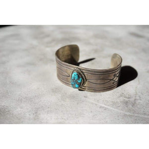 Etched Sterling Silver Cuff | Vintage - Vintage - Kingman Turquoise Cuff - Native American Jewelry - Sterling Silver - Vintage - Vintage