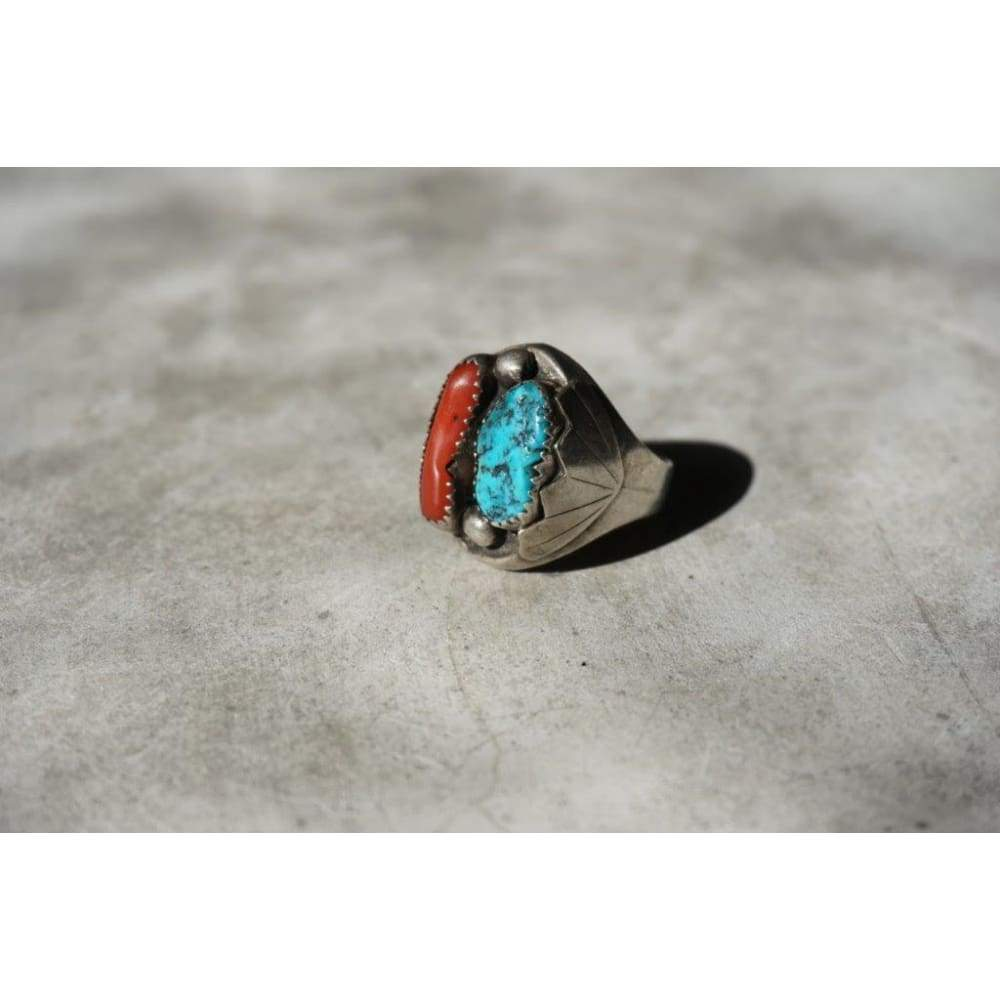 JAJ Turquoise Ring | Vintage - JEWELRY - Coral and Turquoise JAJ stamp Navajo jewelry