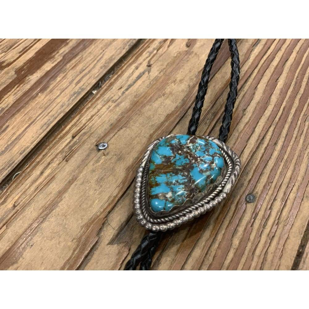 Large Turquoise Bolo | Vintage - VINTAGE - Bolo jewelry Native American Navajo Turquoise