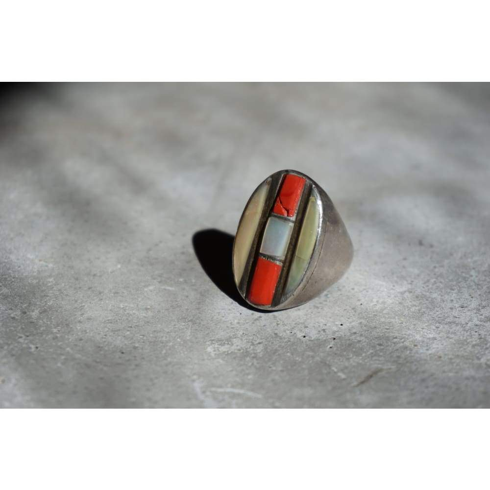 Mother of Pearl & Coral Inlay Ring | Vintage - JEWELRY - coral and mother of pearl ring native american jewelry sterling silver