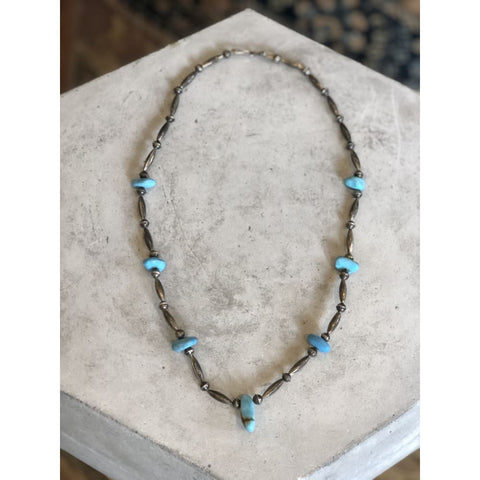 Navajo Pearls W/ Smooth Turquoise | Vintage - Vintage - Native American Jewelry - Navajo Pearls - Navajo Pearls with Turquoise - Vintage -