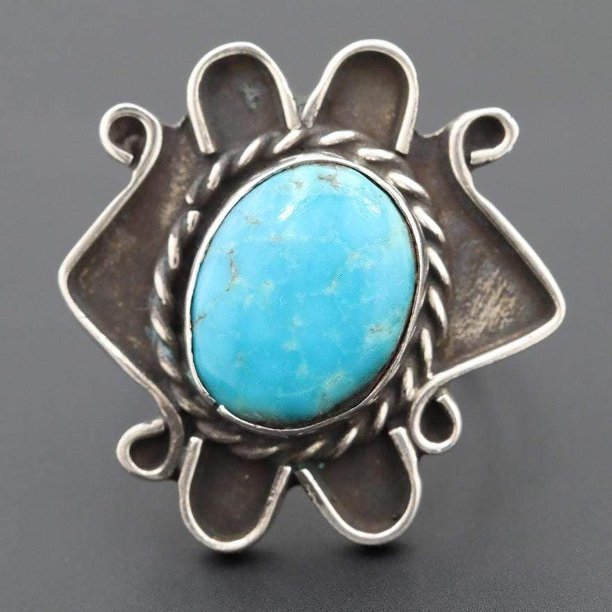 Oval Cabochon Turquoise Ring | Vintage - JEWELRY - native american jewelry sterling silver turquoise ring