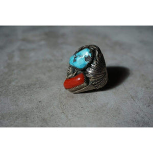 Padilla Turquoise and Coral Ring | Vintage - JEWELRY - coral and turquoise ring native american jewelry Navajo jewelry padilla navajo