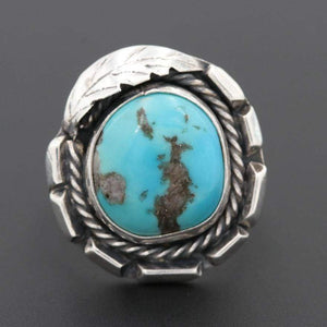 Round Feather Turquoise Ring | Vintage - Vintage - Native American Jewelry - Native American Turquoise - Sterling Silver Turquoise -