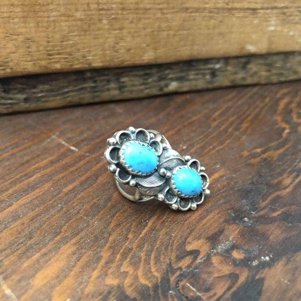 Stacked Turquoise Ring | Vintage - Vintage - Double Turquoise Ring - Native American Jewelry - Navajo Jewelry - Turquoise and Leaf Ring -