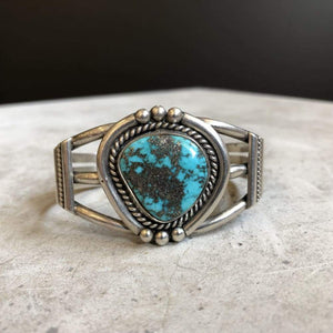Sterling Silver Cuff W/ Pyrite Matrix Turquoise | Vintage - Vintage - Native American Jewelry - Pyrite Turquoise Jewelry - Sterling Silver