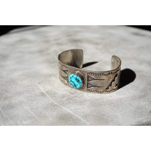Sterling Silver Cuff w/ Turquoise | Vintage - JEWELRY - Native American jewelry sterling silver Sterling Silver Cuff turquoise