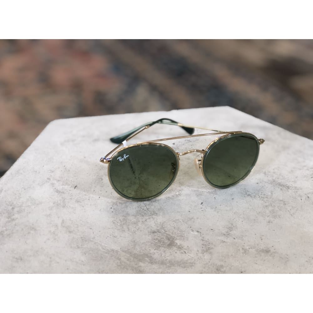 Sunglasses | Round Double Bridge Gold w/ Green Gradient Green | Ray-Ban - SUNGLASSES - ACCESSORIES Ray-Ban Ray-Ban 3647 Ray-Ban Sunglasses