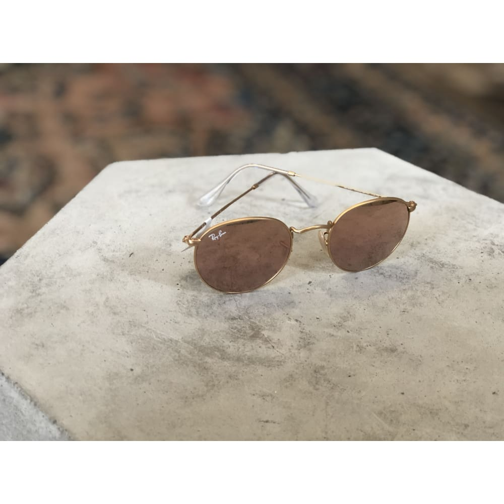 Sunglasses | Round Matte Gold w/ Brown Mirror Pink | Ray-Ban - SUNGLASSES - ACCESSORIES Ray-Ban Ray-Ban round Ray-Ban Sunglasses Round