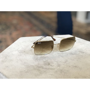 Sunglasses | Square Gold w/ Clear Gradient Brown | Ray-Ban - SUNGLASSES - ACCESSORIES Ray-Ban Ray-Ban Sunglasses square ray-ban square