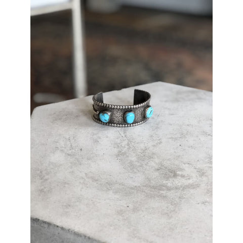Three-stone Stamped Turquoise Cuff | Vintage - Vintage - Freeform Turquoise - Jewelry - Native American - Navajo Jewelry - Southwestern