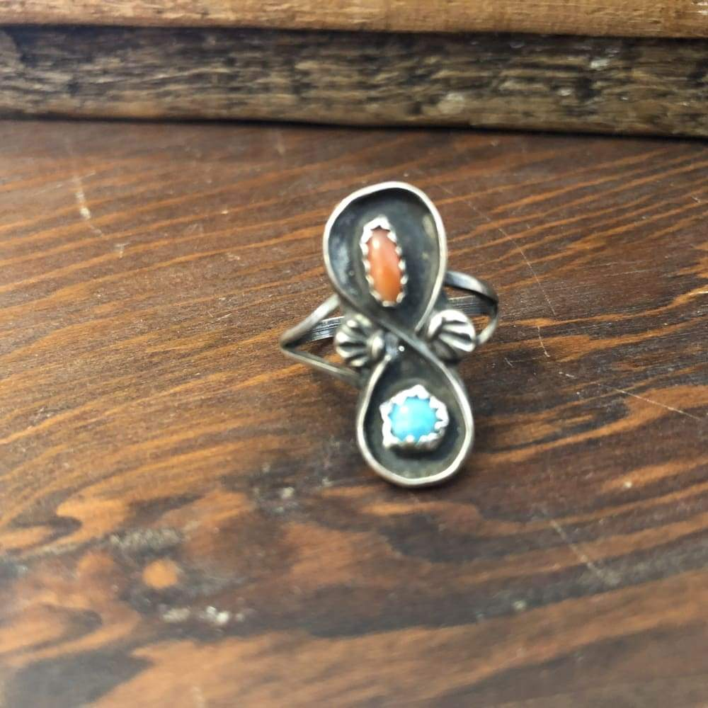 Turquoise and Coral Loop Ring | Vintage - JEWELRY - Coral and Turquoise native american jewelry sterling silver turquoise ring Turquoise and