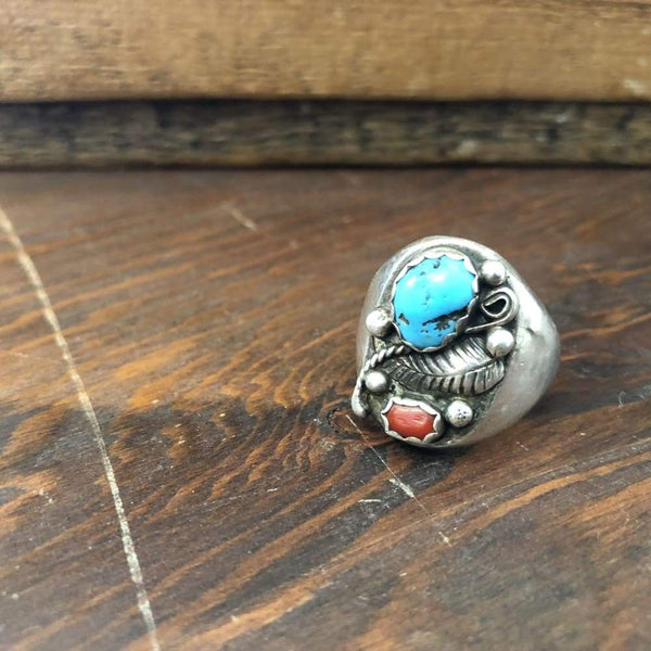 Turquoise and Coral W/ Leaf Ring | Vintage - Vintage - Native American Jewelry - Navajo Jewelry - Turquoise and Coral Ring - Turquoise Ring