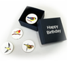 Set of Four Birdie Ball Markers in Happy Birthday Gift Box - golfprizes