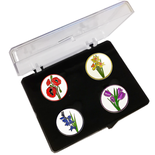 Flower Ball Markers and Visor Clip in Presentation Box - golfprizes