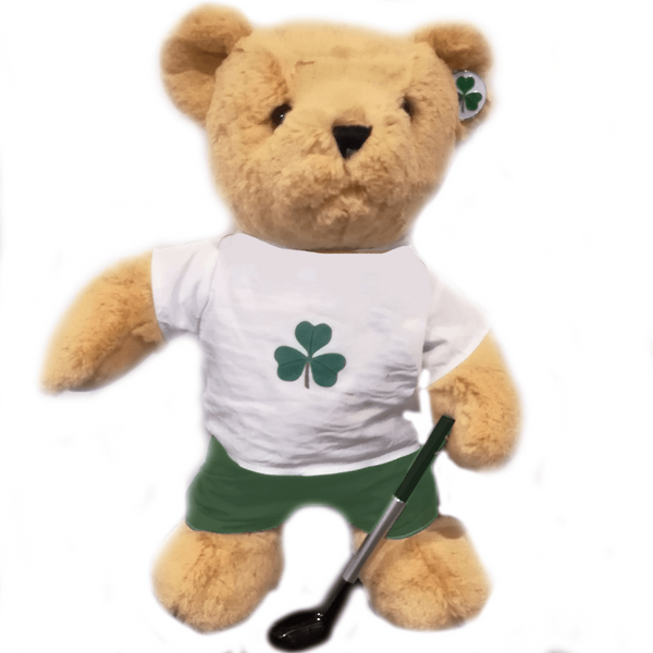 Irish Golfing Teddy Bear + FREE VISOR CLIP AND BALL MARKER - golfprizes