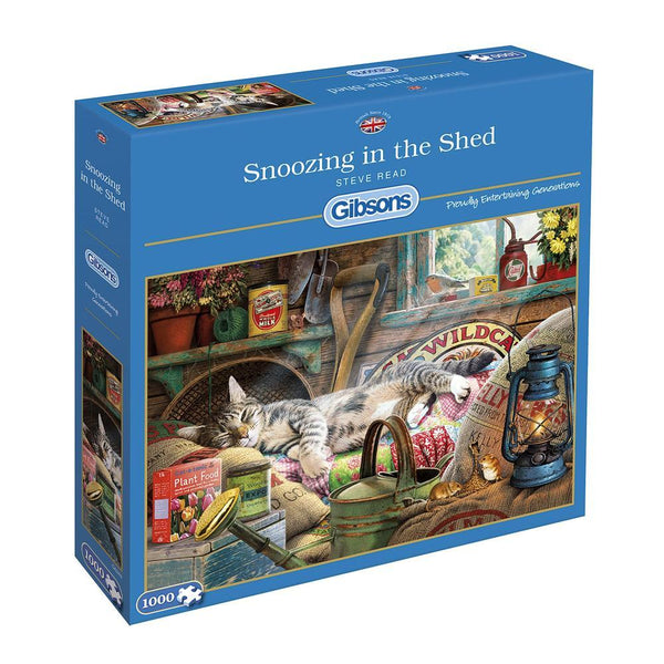 1000 Piece Extra Large Jigsaw Puzzle - Snoozing in the Shed - golfprizes