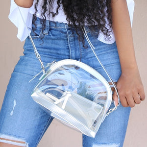 Half Moon Crossbody - Stadium Approved - Silver