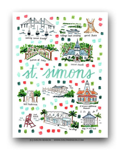 Evelyn Henson - St. Simons Fine Art Map Print