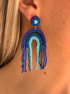Beaded Rainbow Earring - Blue Multi